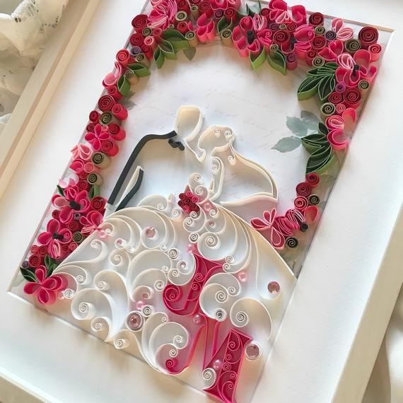 Quilling first anniversary paper gift - 3D Bride and groom wall art decor - Unique Paper Art - Weddi