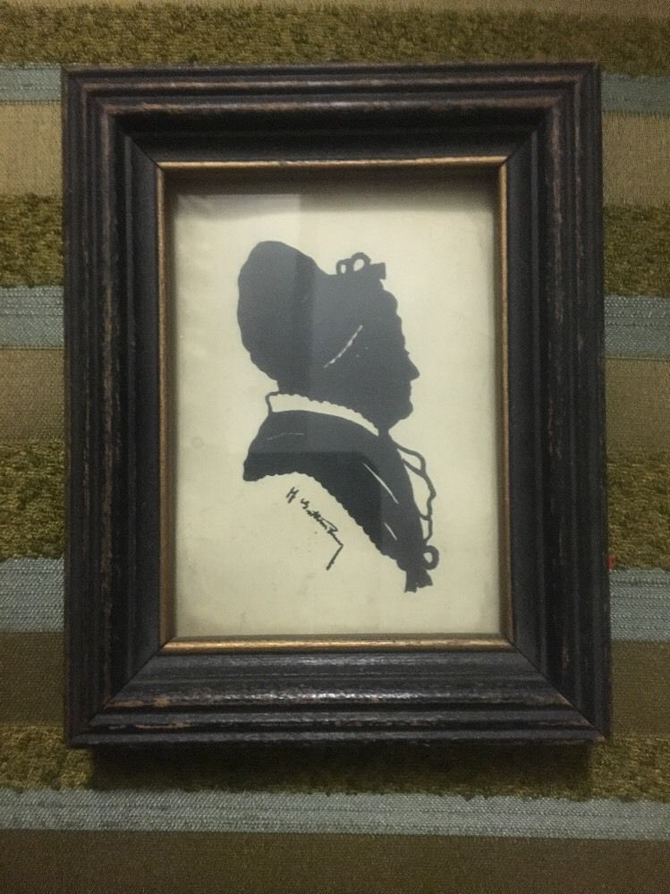 Antique Estate Find Mid 1800s Framed Painted Women Silhouette Portrait Signed
