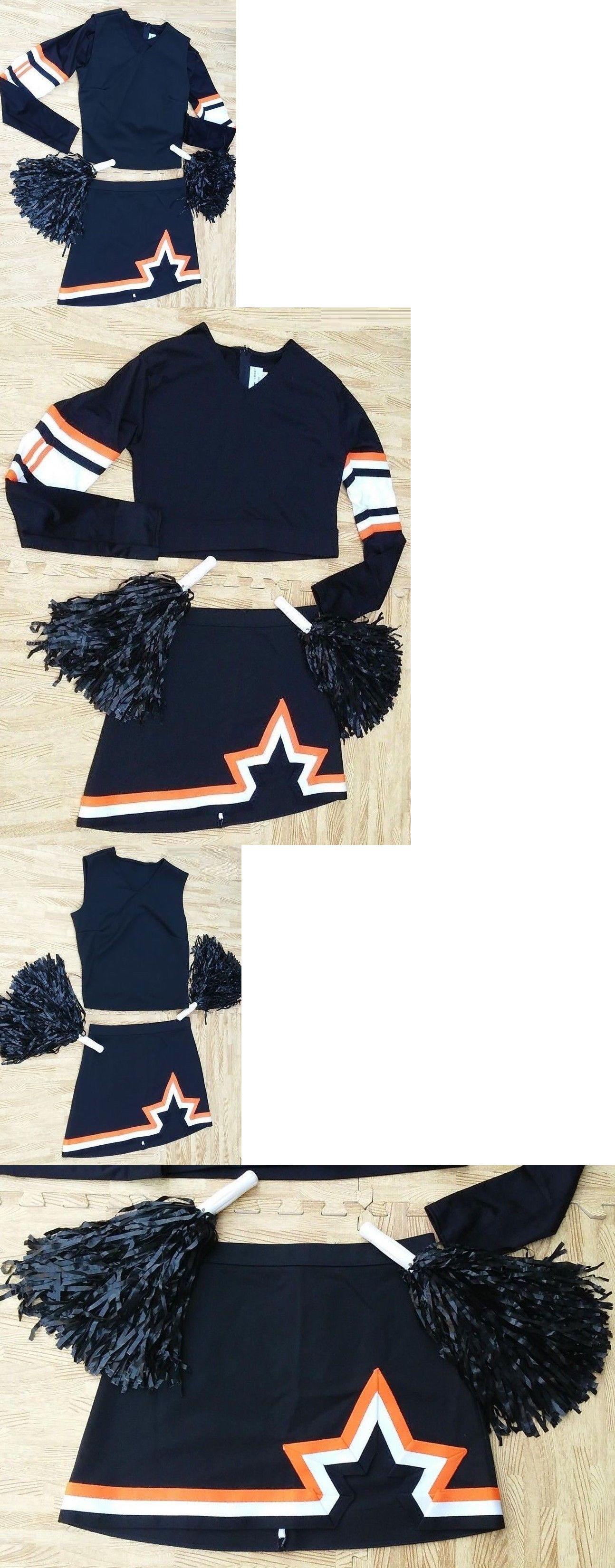 a444cfe261a Cheerleading 66832  Adult Real Black Orange Complete Cheerleader Uniform Xl  Top L Skirt 40-