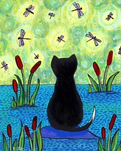 Dragonfly Dreamer Cat Print from painting by Shelagh
