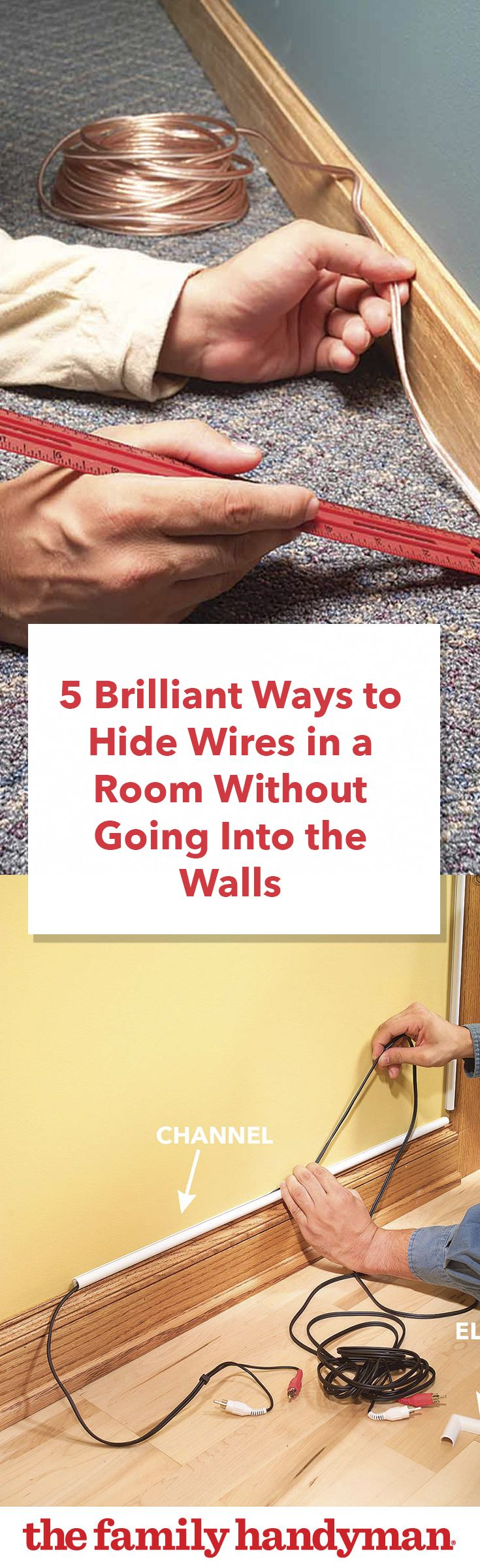 5 Brilliant Ways To Hide Wires In A Room Without Going Into The Wiring On Pinterest Electrical Home And Walls 2018 Repair