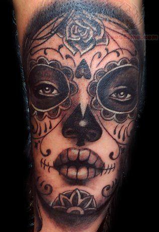 Sugar Skull Dia De Los Muertos Face Tattoo Halloween Dia De Los