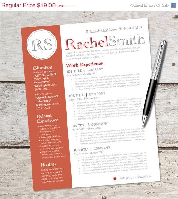 GRAD SALE INSTANT Download - Resume Design Template - Microsoft - ms word for sale