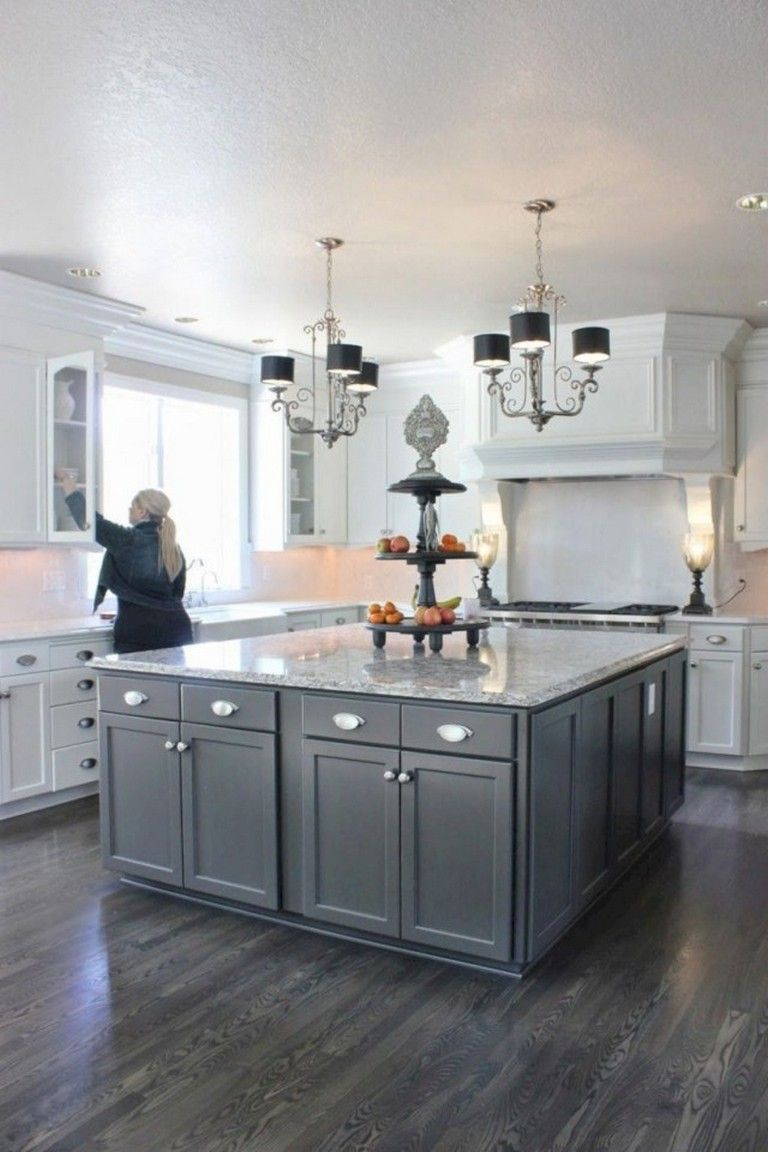 42 Lovely Gray Kitchen Cabinets Design Ideas Kitchen Design Home Kitchens Kitchen Flooring