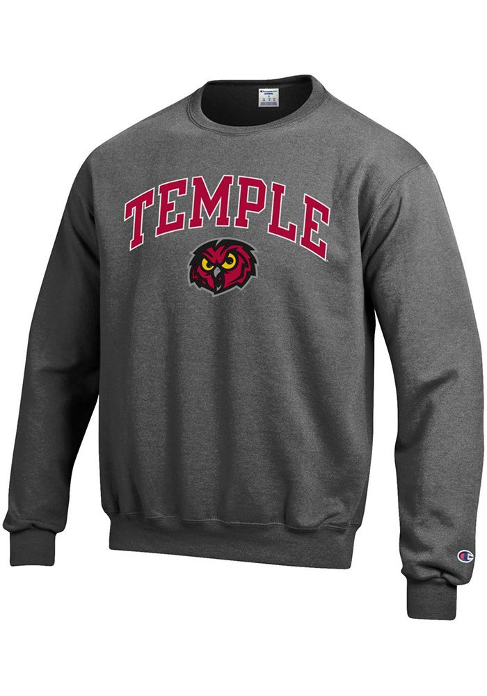 9d6a04788 Champion Temple Owls Mens Grey Arch Mascot Long Sleeve Crew ...