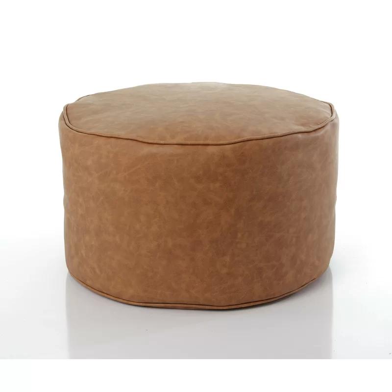 Bourne Pouf Faux Leather Ottoman Pouf Round Ottoman