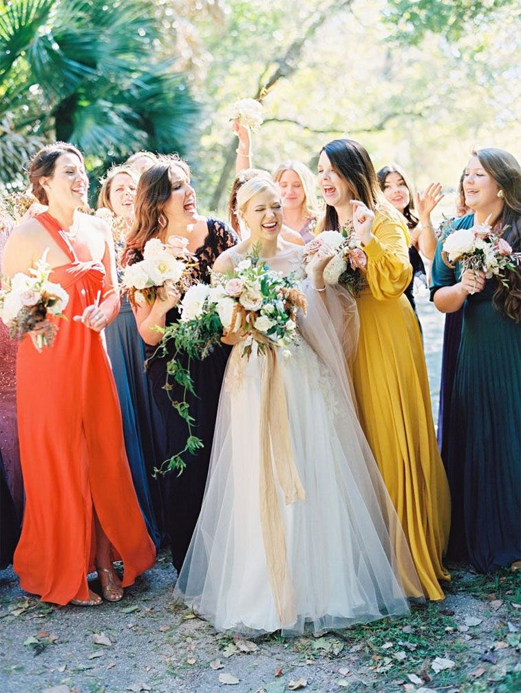 Jewel tone bridesmaid dresses - yellow + emerald green - bright orange #wedding #fallwedding
