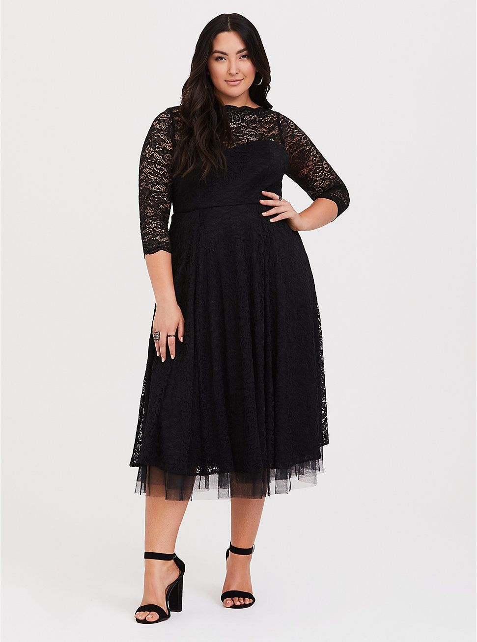 Plus Size Special Occassion Black Lace Midi Dress Deep