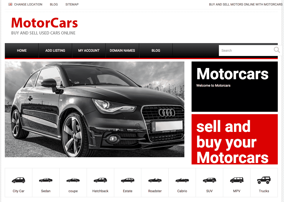 Motorcars required a new WordPress website, using car