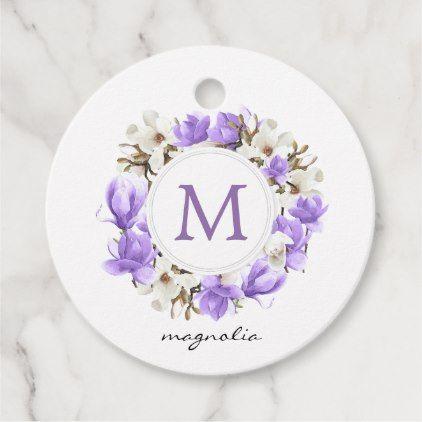 Photo of Watercolor Purple Magnolia Wreath Monogram Favor Tags | Zazzle.com