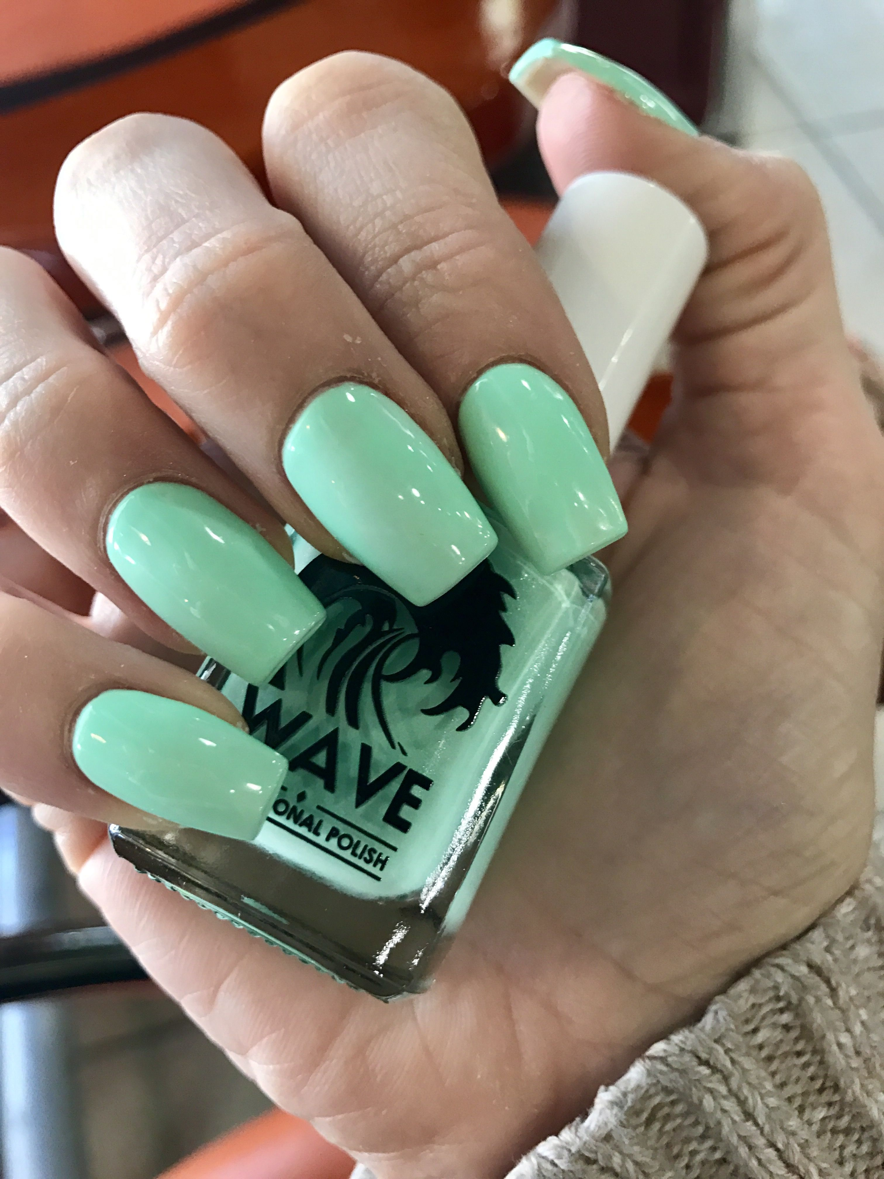 Slightly Tapered Square Mint Acrylic Nails #squareacrylicnails ...