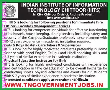 Iiit Chittoor Andhra Pradesh Officer Facilities Management