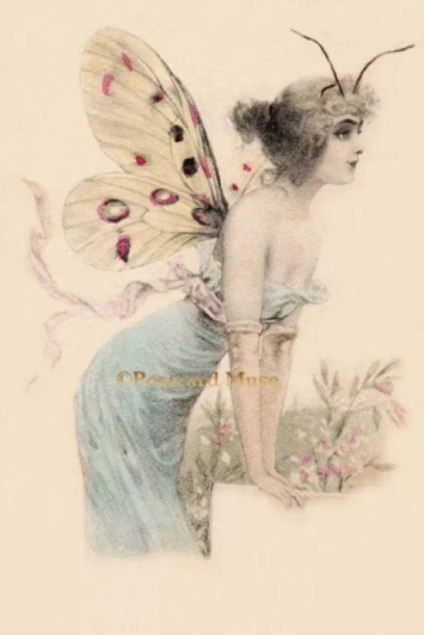 Vintage Art Nouveau Pendant Sterling Silver Lady Flower