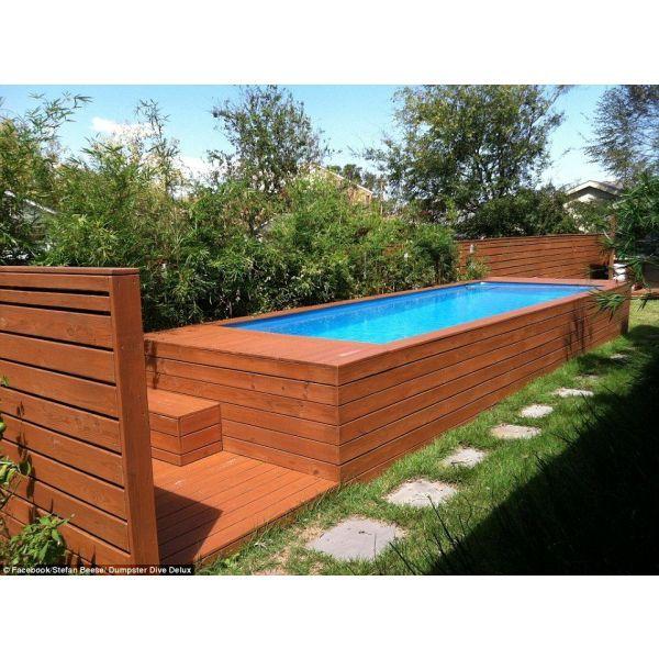 Une piscine faite avec un conteneur ordures l 39 id e - Habillage tour de piscine ...