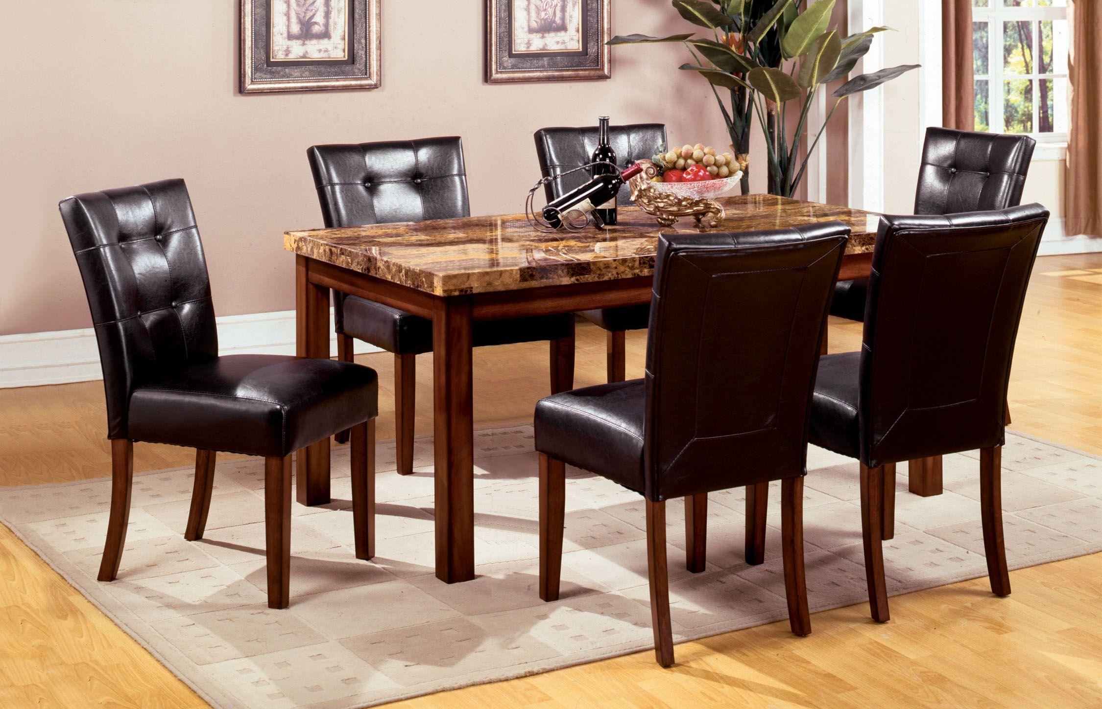 Furniture Of America Tenza 7 Piece Dark Oak Set With Faux Marble