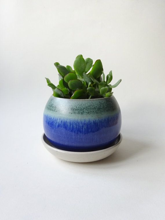 Medium Pot With Drainage Hole And Tray Blue White By Viceramics