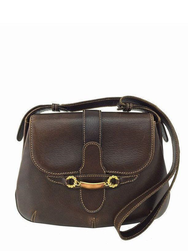 38303e7a925 Gucci Vintage Leather Convertible Horsebit Saddle Bag Brown ...
