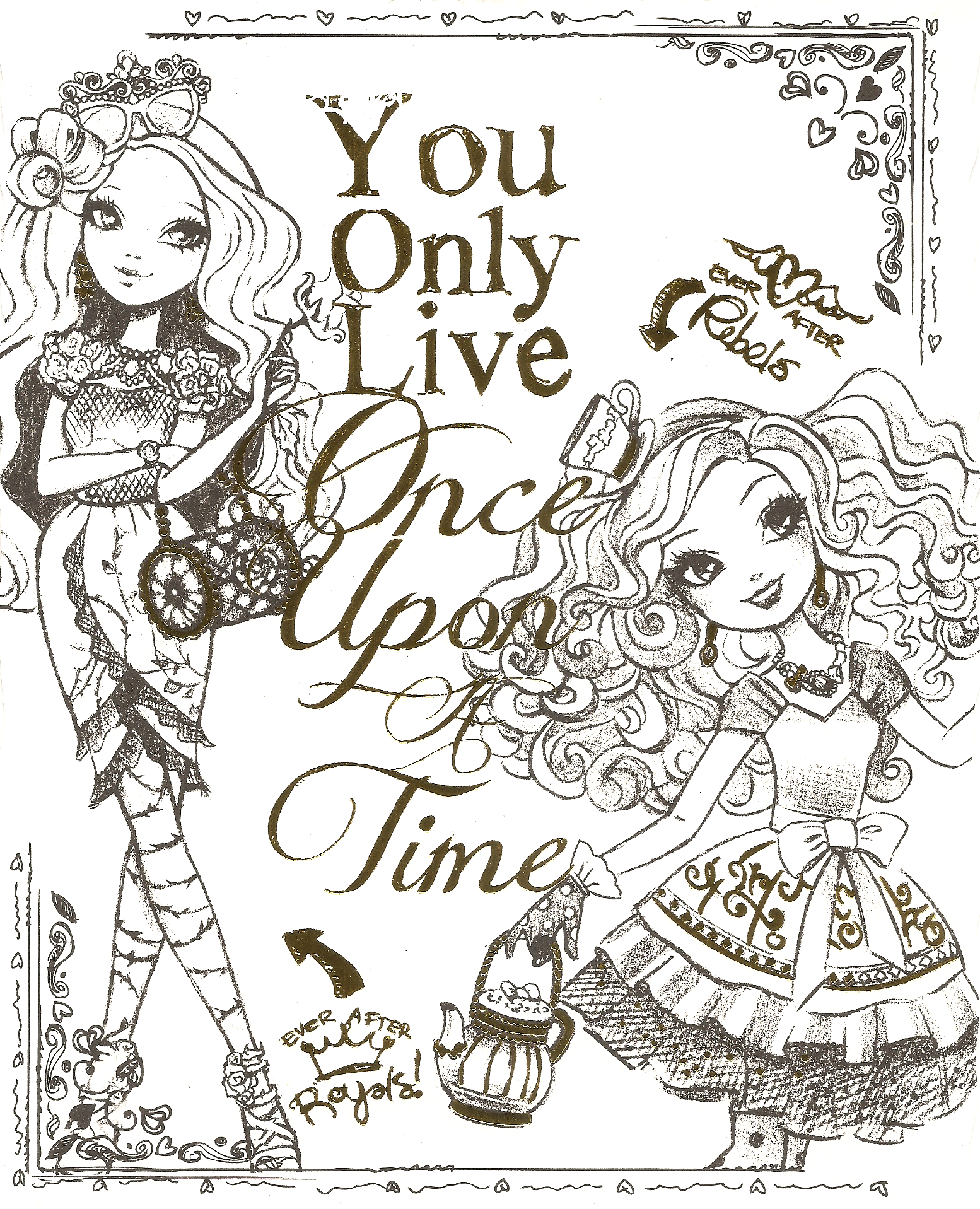 Ever After High Color Page 4 By Obscurepairing On Deviantart Ever After High Coloring Pages Coloring Books