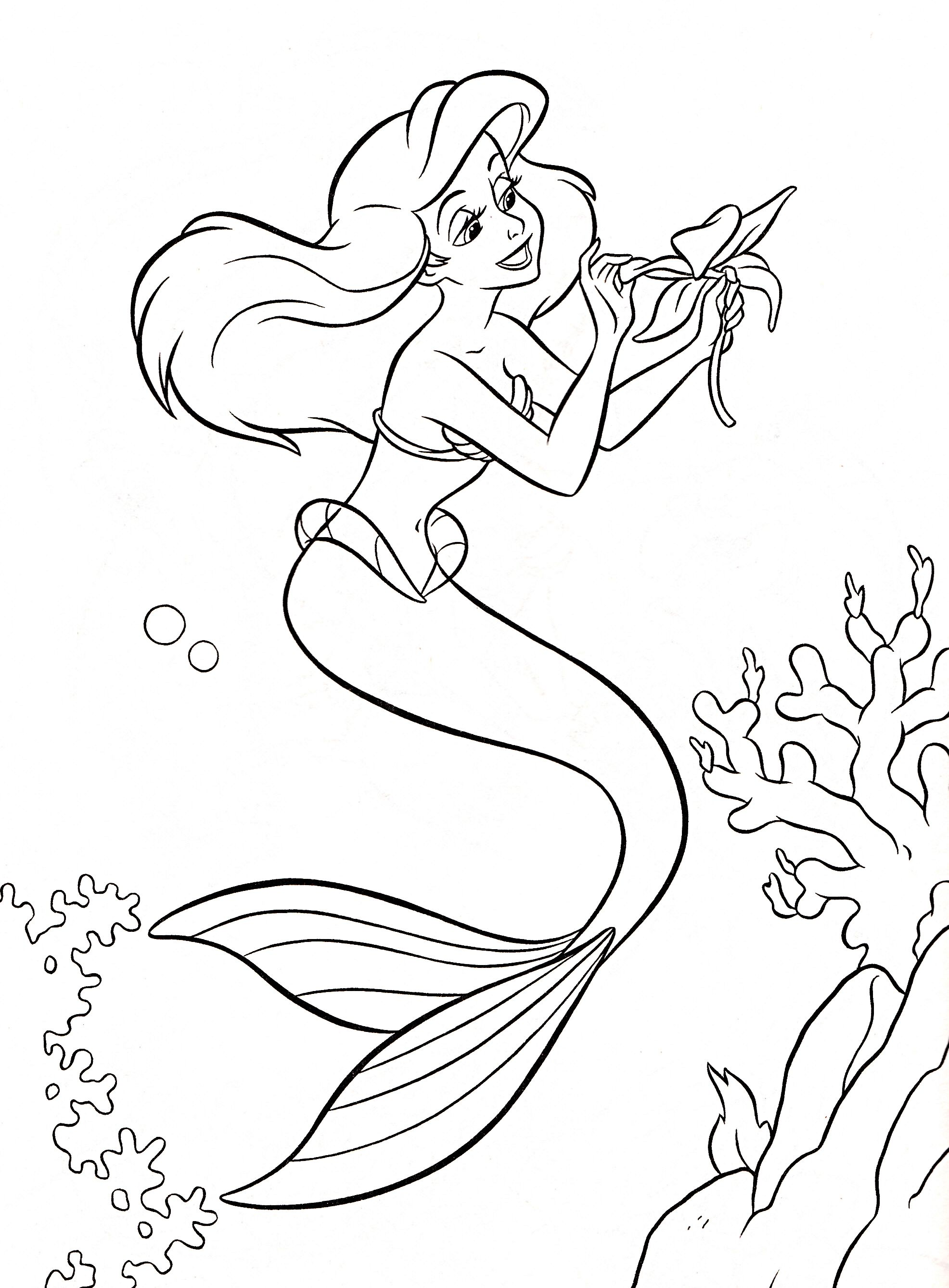 Free coloring disney princess pages - Walt Disney Coloring Pages Princess Ariel Walt Disney