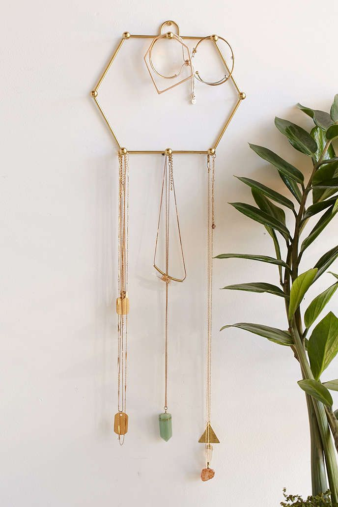 Sadie Hexagon Hanging Jewelry Stand Urban Outfitters room decor