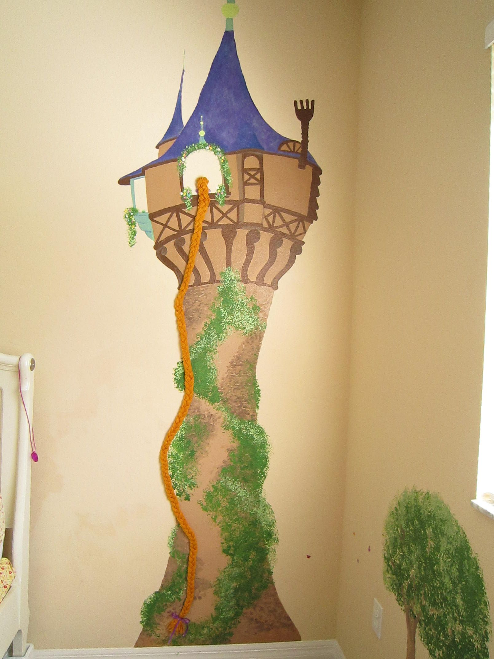 Princess Castle Mural, Rapunzel\'s tower   Princess rapunzel ...