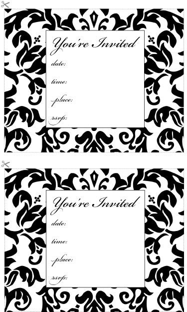 free printable damask-invitation, place cards, and menu black and