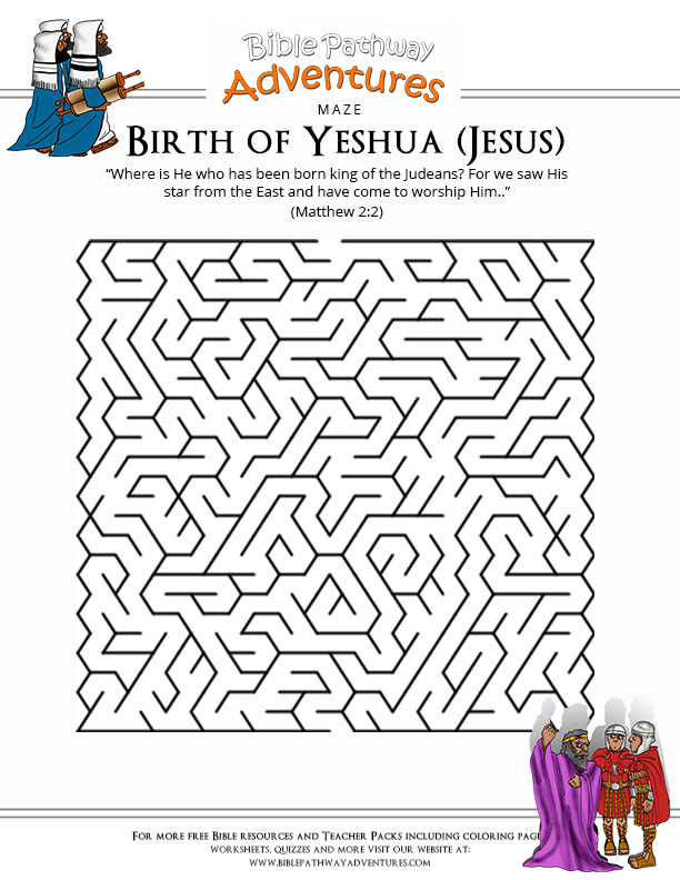Birth of Yeshua Bible Maze for Kids Bible lessons, Bible
