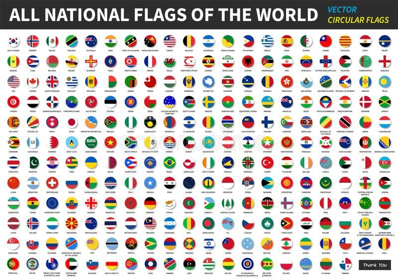 All Official National Flags Of The World Circular Design Vector Ad Flags National Official World Vector Flags Of The World National Flag Flag