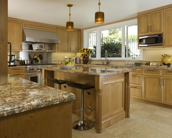 kitchen oak cabinets color ideas granite countertop neutral color tile backsplash 8360