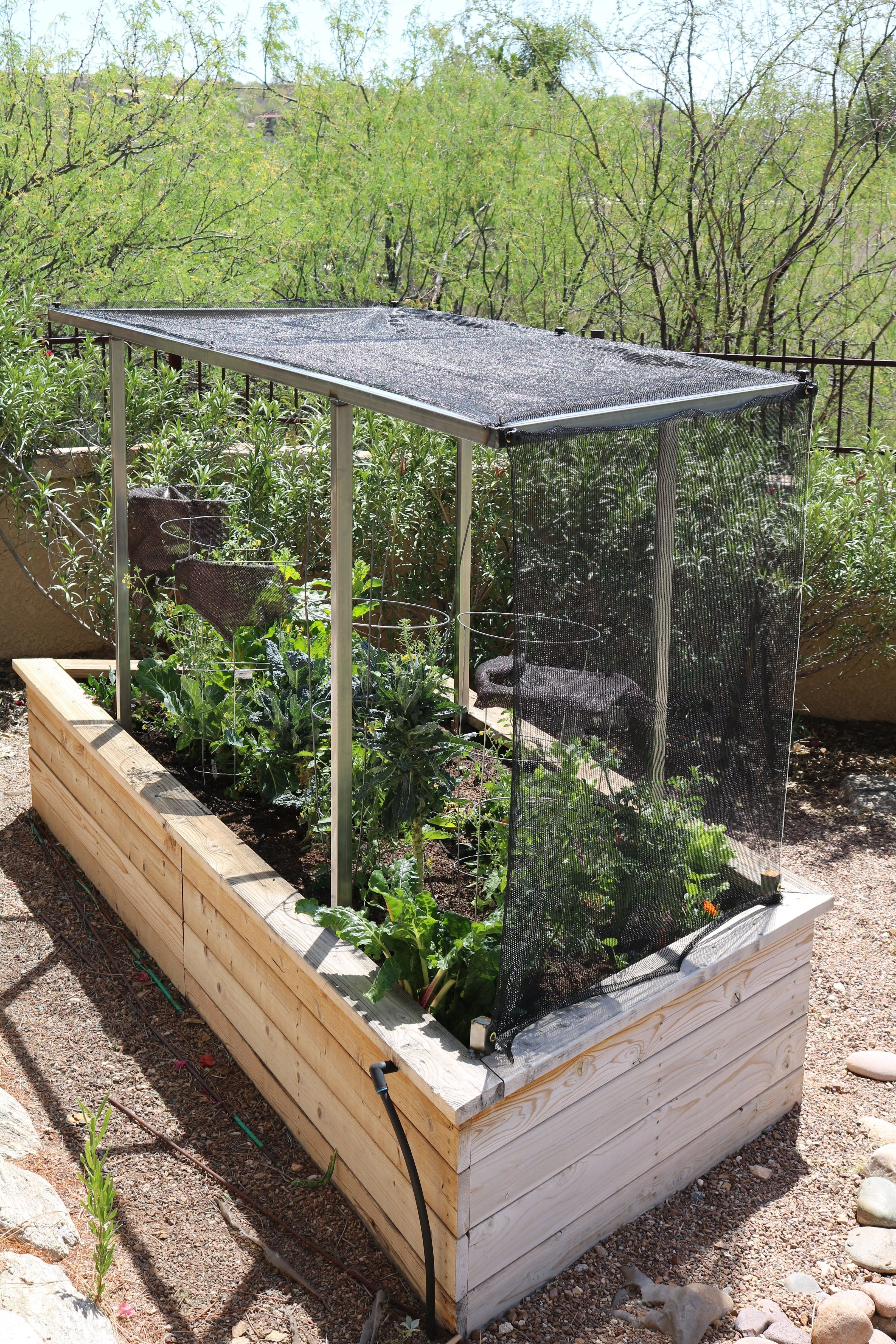 Raised Redwood Vegetable Garden Bed With Shade Cloth On Metal