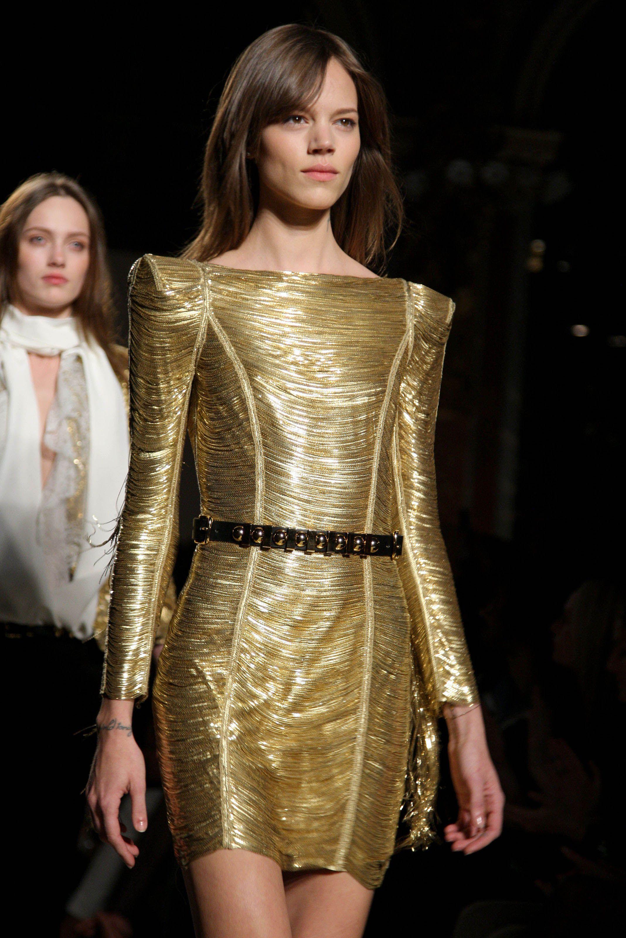 Balmain Gold Tail Dress