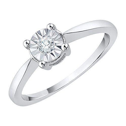 4f3b7776daa75 KATARINA Diamond Promise Ring in Sterling Silver (1/10 cttw) (JK ...