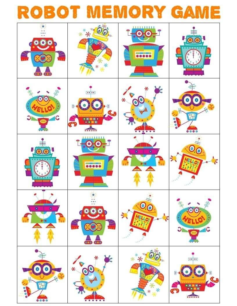 Free Printable Robot Memory Game Printable Preschoolers Preschoollearning Preschool Prek Pr Memory Games Memory Games For Kids Robots Preschool Theme [ 1056 x 816 Pixel ]
