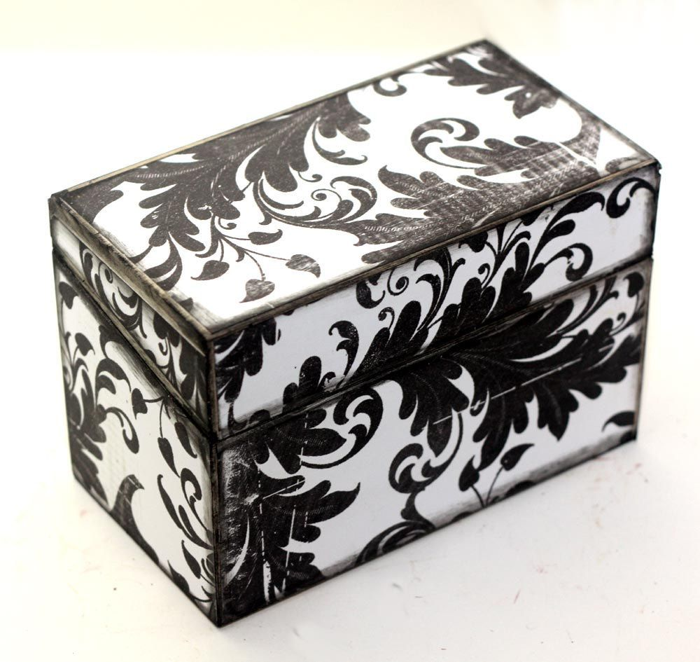 shabby chic recipe box wood black and white fits 4x6 cards recipe rh pinterest co uk  simply shabby chic recipe box