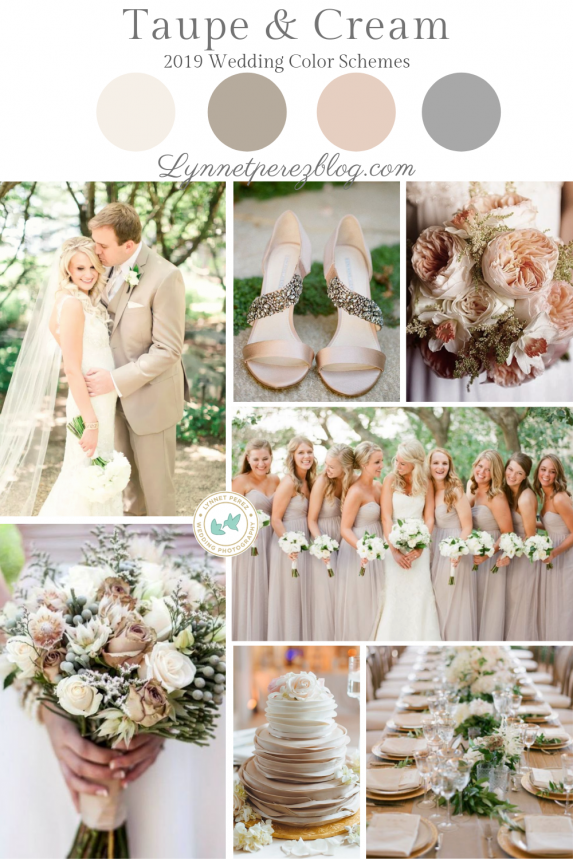 12 Top Wedding Color Schemes & Palette Trends 2019 - Taupe & Cream - Fall Colors . . .