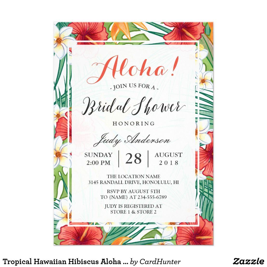 Tropical Hawaiian Hibiscus Aloha Bridal Shower Card ...