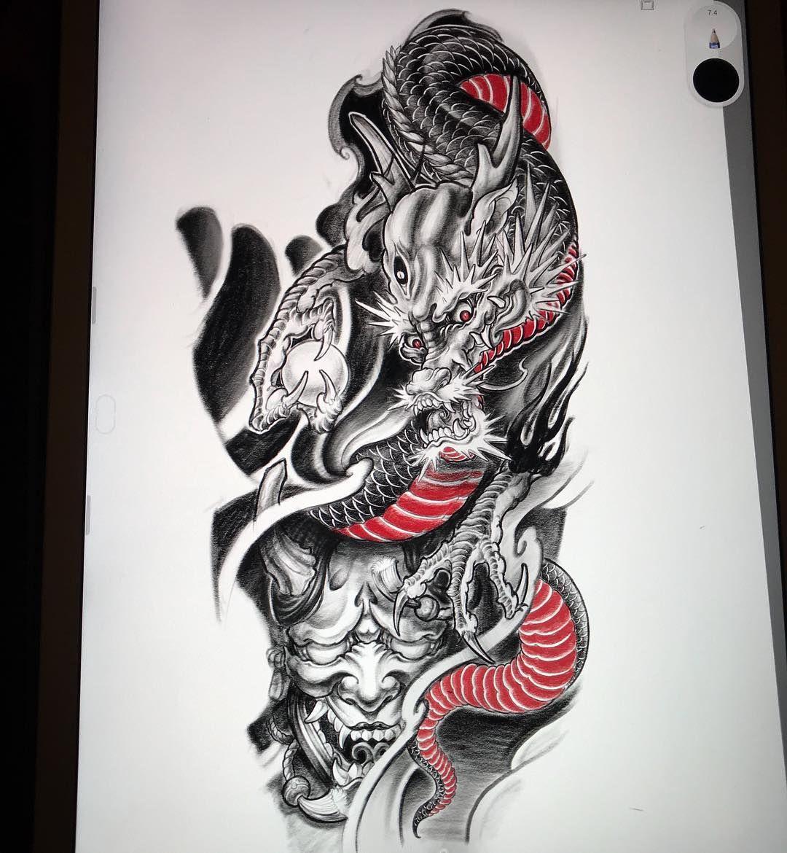 1136bb5bb Dragon and Hannya full sleeve design 🐉😈 #ipadpro #sketchbook  #japanesetattoo #hannya #hannyamask #japanesedragon #irezumi  #irezumicollective #sleevedesign