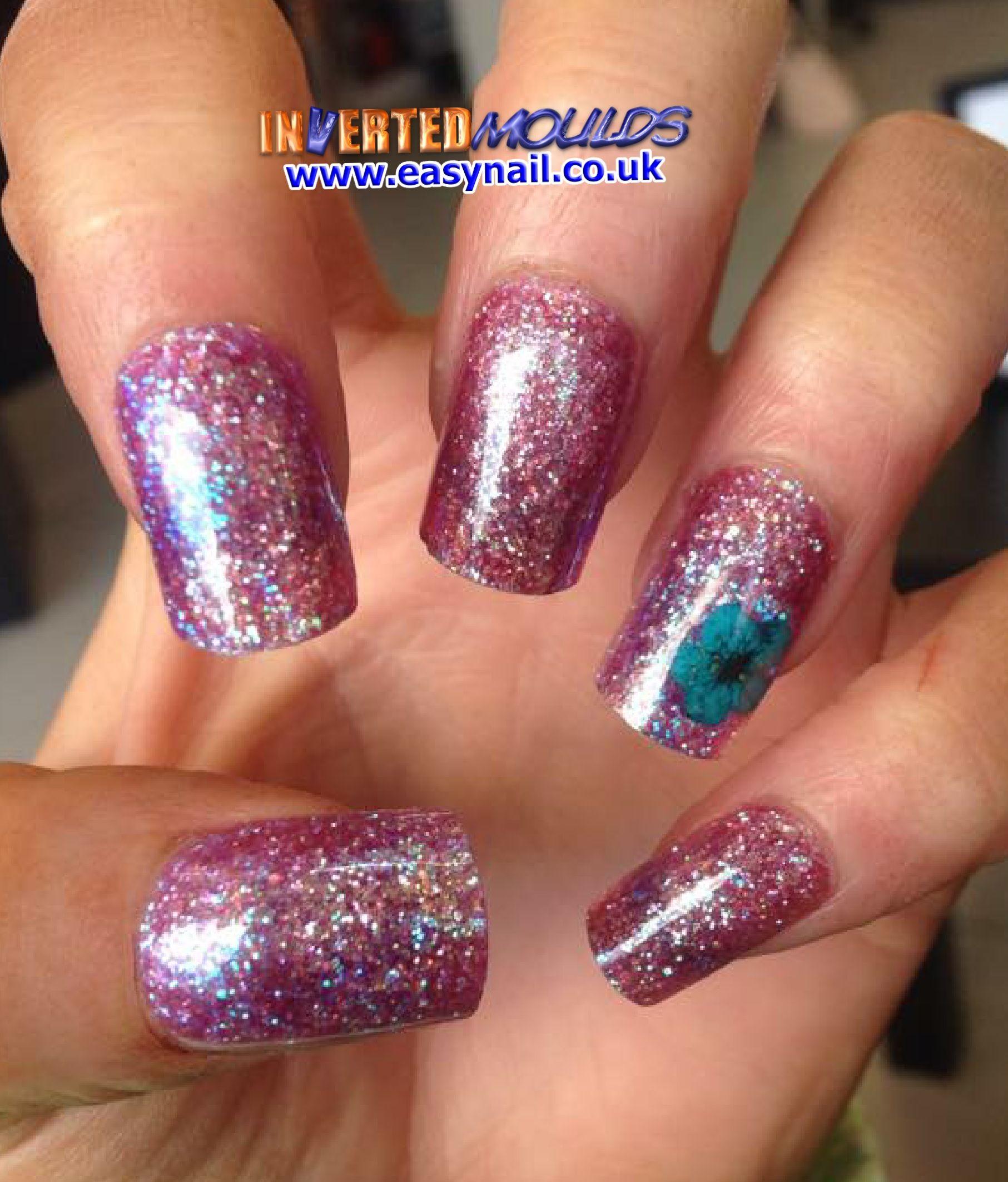 Holographic #Fuchsia #Glitter #Invertedmoulds #Nails #Nailart ...