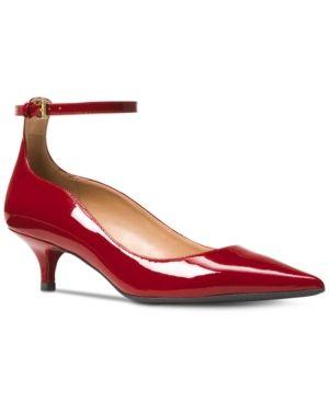 Onlineshoe Low Kitten Heel Court Shoes Red Suede