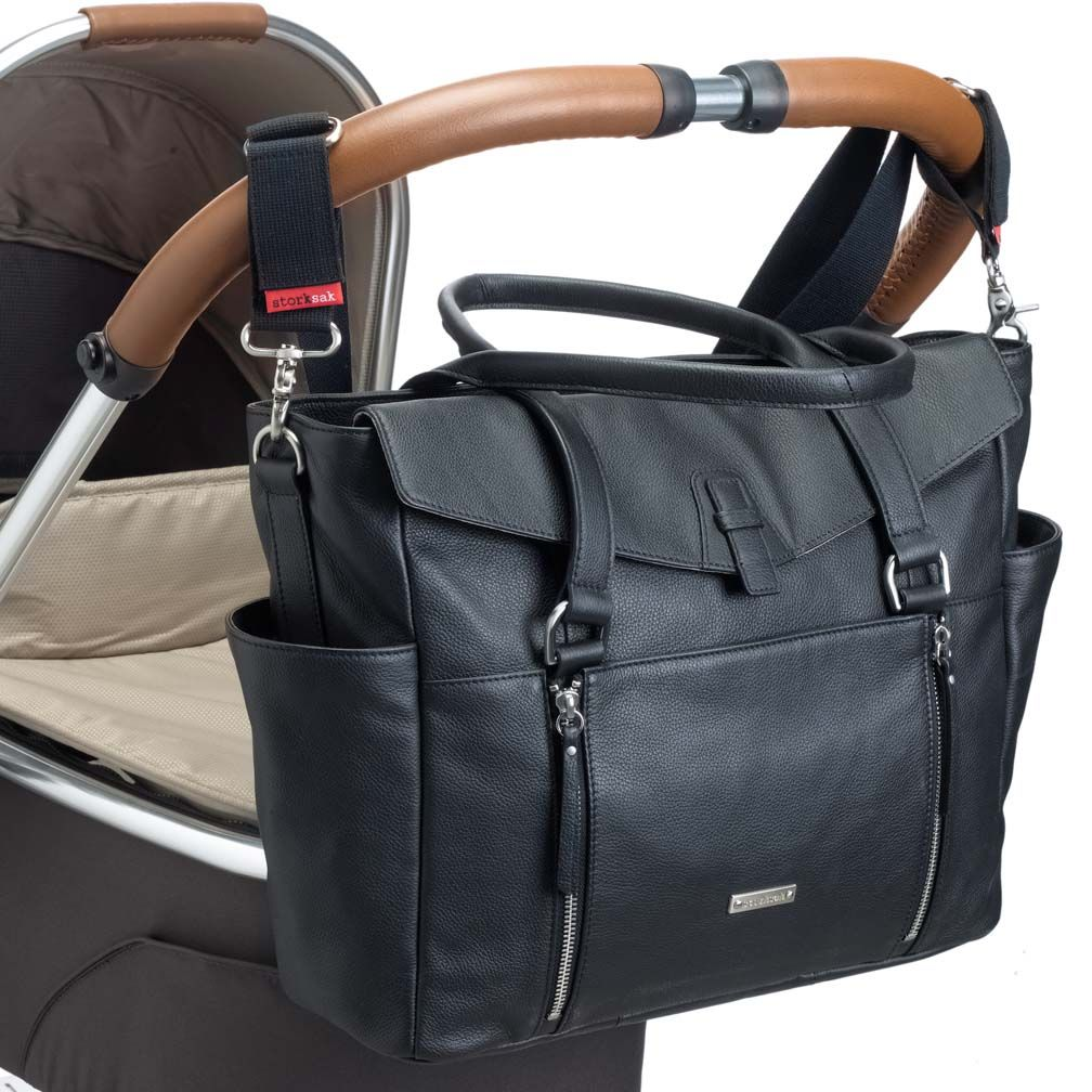 Storksak Emma Luxury Leather Diaper Bag Black Maternity Clothes