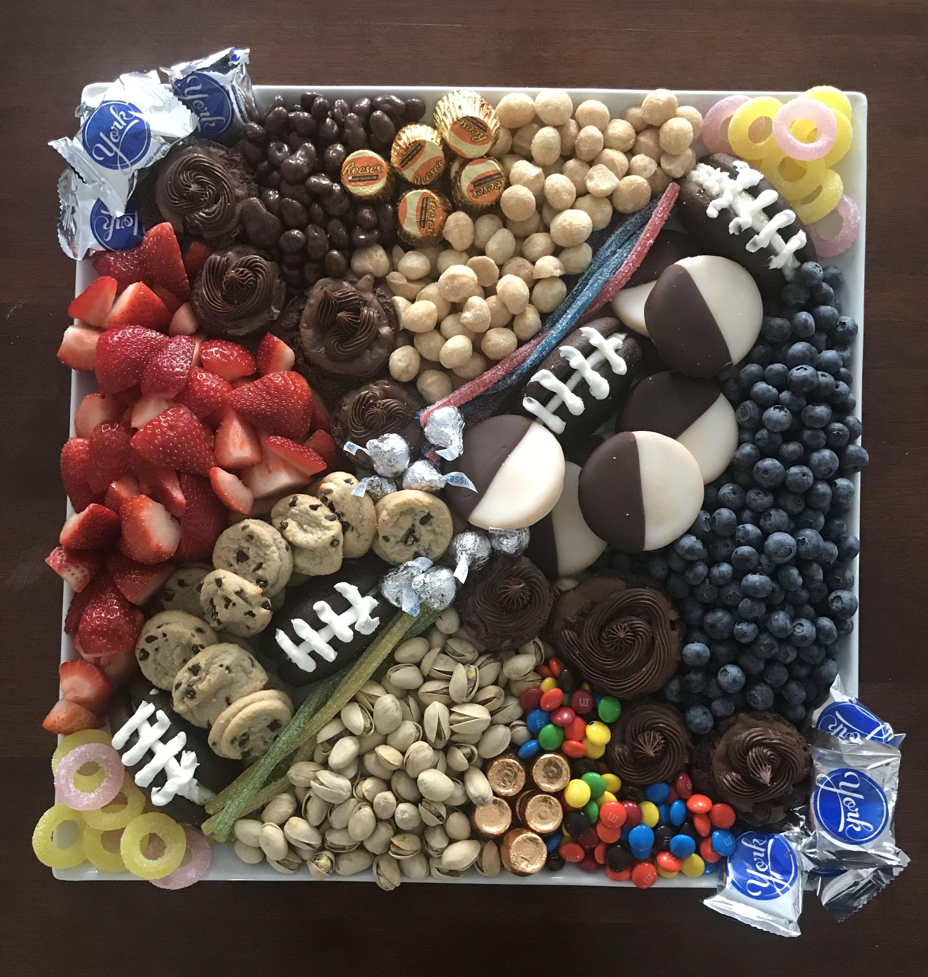 Football party dessert board Football desserts, Football