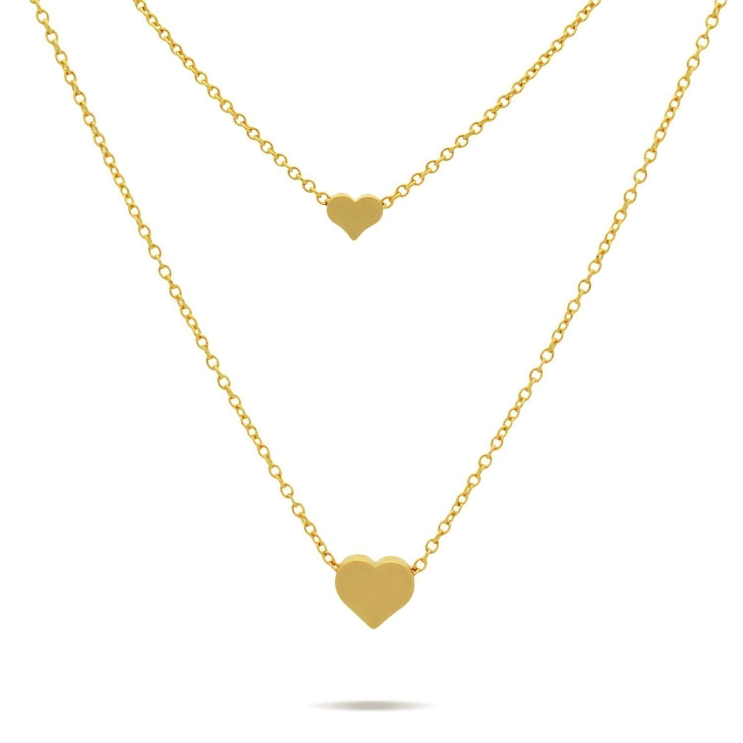 d5ba88322cf44 Double Gold Hearts Necklace 14K Gold Plated Tiny Hearts Necklace ...