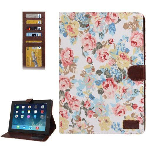 For+iPad+4/3/2+Peony+Pattern+Denim+Texture+Leather+Case+with+Card+Slots+&+Holder