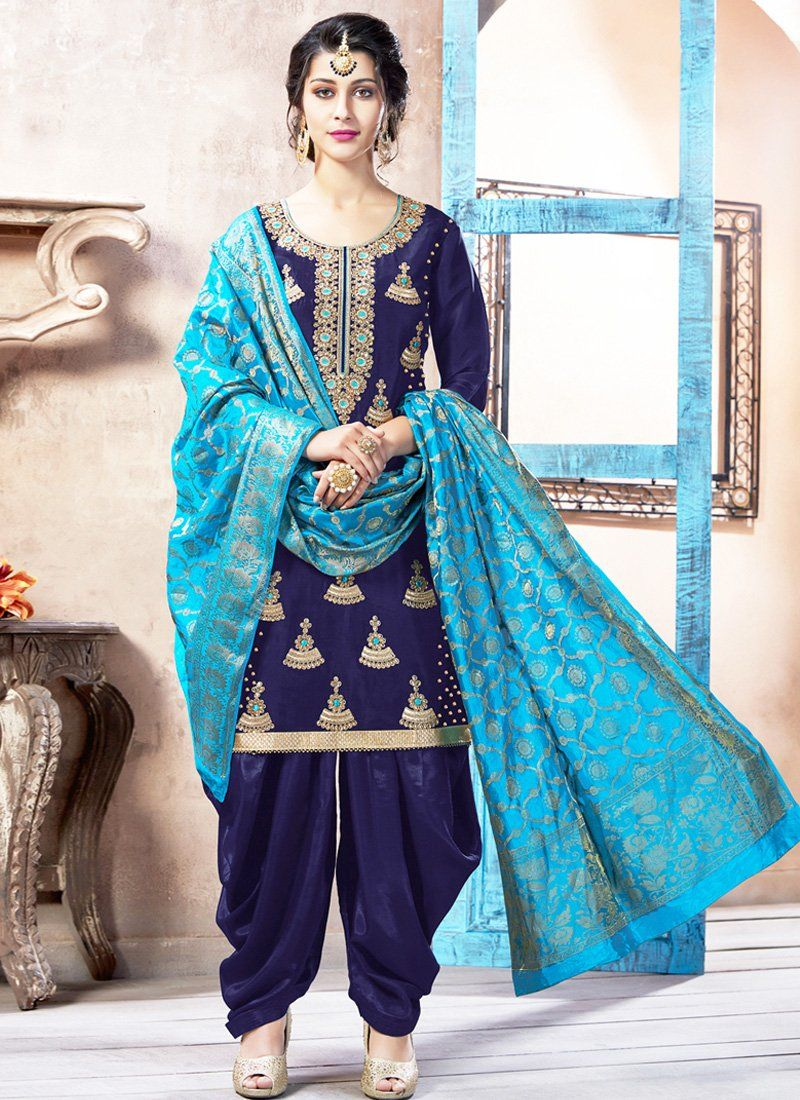 cefdb30b8e Dark Blue and Light Blue Embroidered Pure Silk Punjabi Suit ...