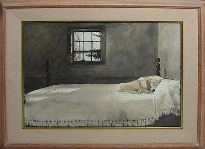 Andrew Wyeth Master Bedroom - Signed - Dog On Bed Framed ...