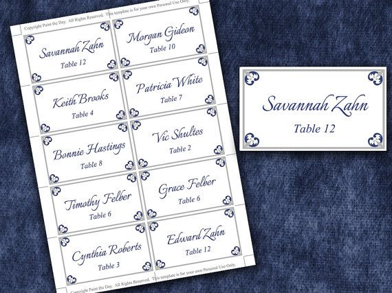 Wedding Place Cards Microsoft Word Template Antique Chic Navy