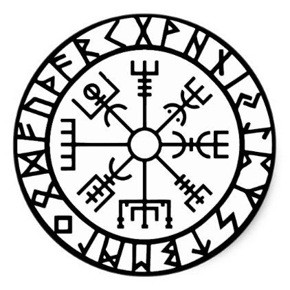 Vegvisir (Viking Compass) Round Sticker | Zazzle.com #vikingsymbols