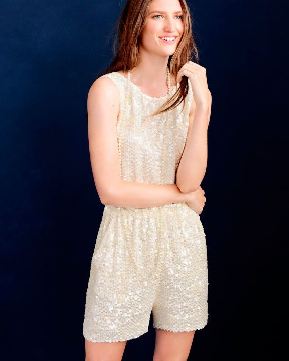 9fe5091987e Not the type to always wear a dress  A sparkly romper is a fun option for  your bachelorette party or after-party. J.Crew Collection sequin romper