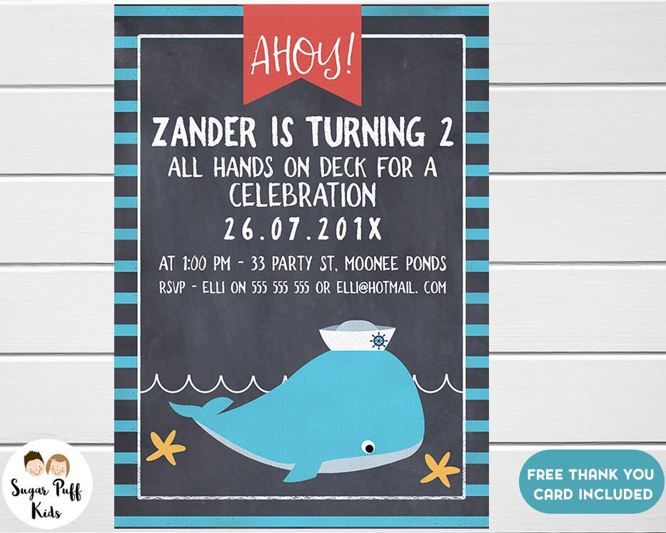 Boys Nautical Chalkboard Birthday Party Invitation, Boys Nautical ...