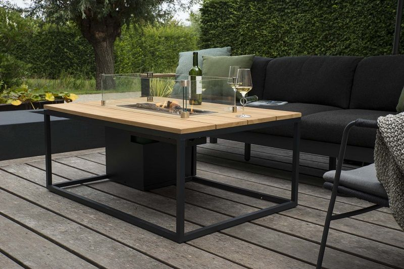 Dieser Aussenkamin Kombiniert Moderne Und Rustikale Materialien Terrassegestaltung Terrasse Gartenmobel Sets Aussenmobel Gartenmobel